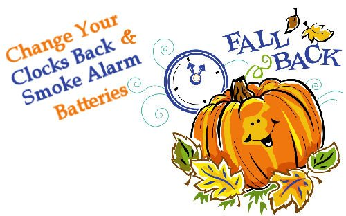 Fall Back Time Change! Turn Clock Back 1 Hour Nov 5th at 2am