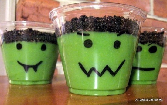 Easy Frankenstein Pudding Cups Halloween Recipe!