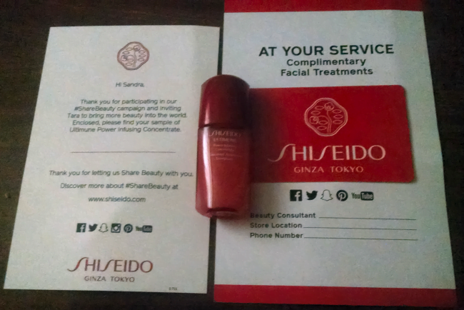 shiseido freebie received