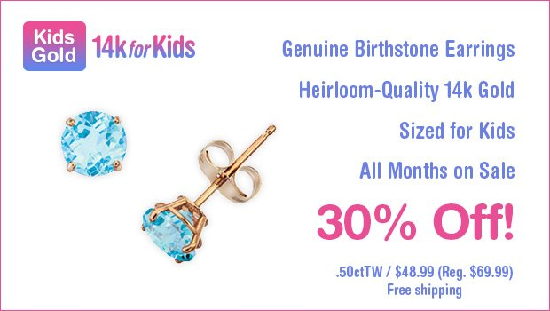 Kids 14k Gold Genuine Birthstone Earrings