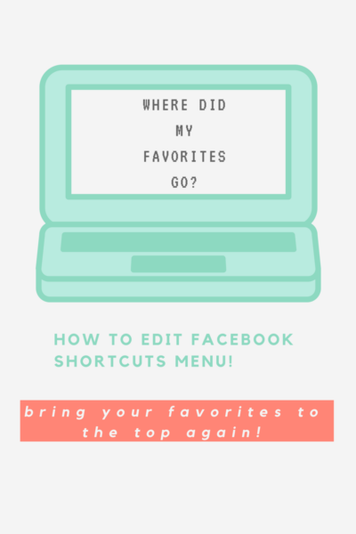 edit facebook shortcuts menu