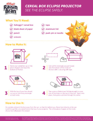 Make your own DIY Cereal Box Solar Eclipse Viewer Instructions