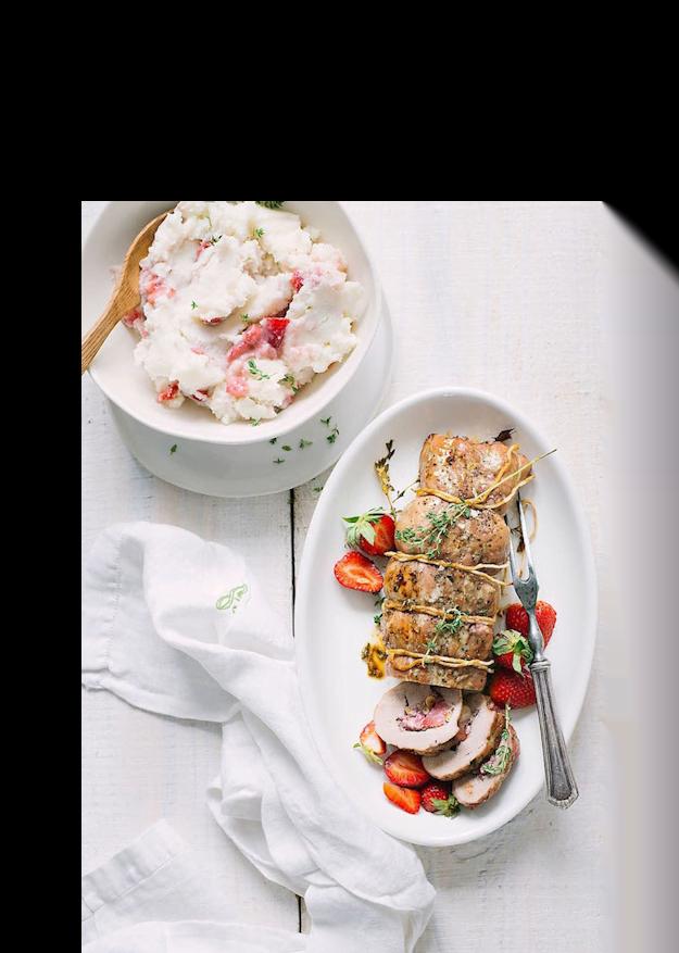 Strawberry Stuffed Pork Loin with Sweet Strawberry Mashed Potatoes