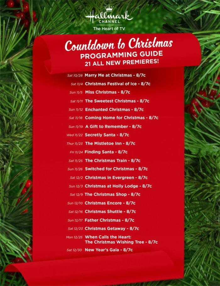hallmark countdown to christmas movies premiere dates for