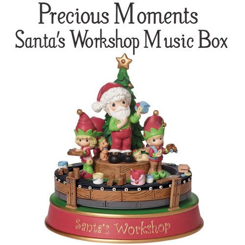 Cute Holiday Decorations Precious Moments Santa's Workshop Music Box #Christmas2017 #AD