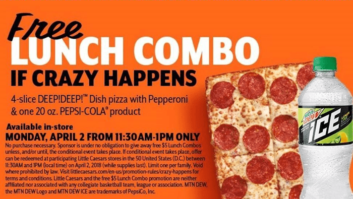 April 2nd FREE Little Caesars Lunch Combo