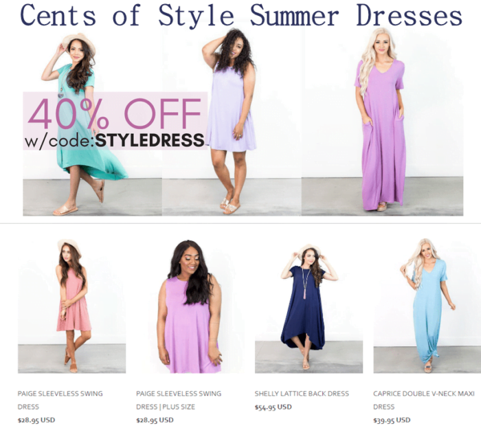 Cents of Style 40% OFF Summer Dresses & Free Shipping