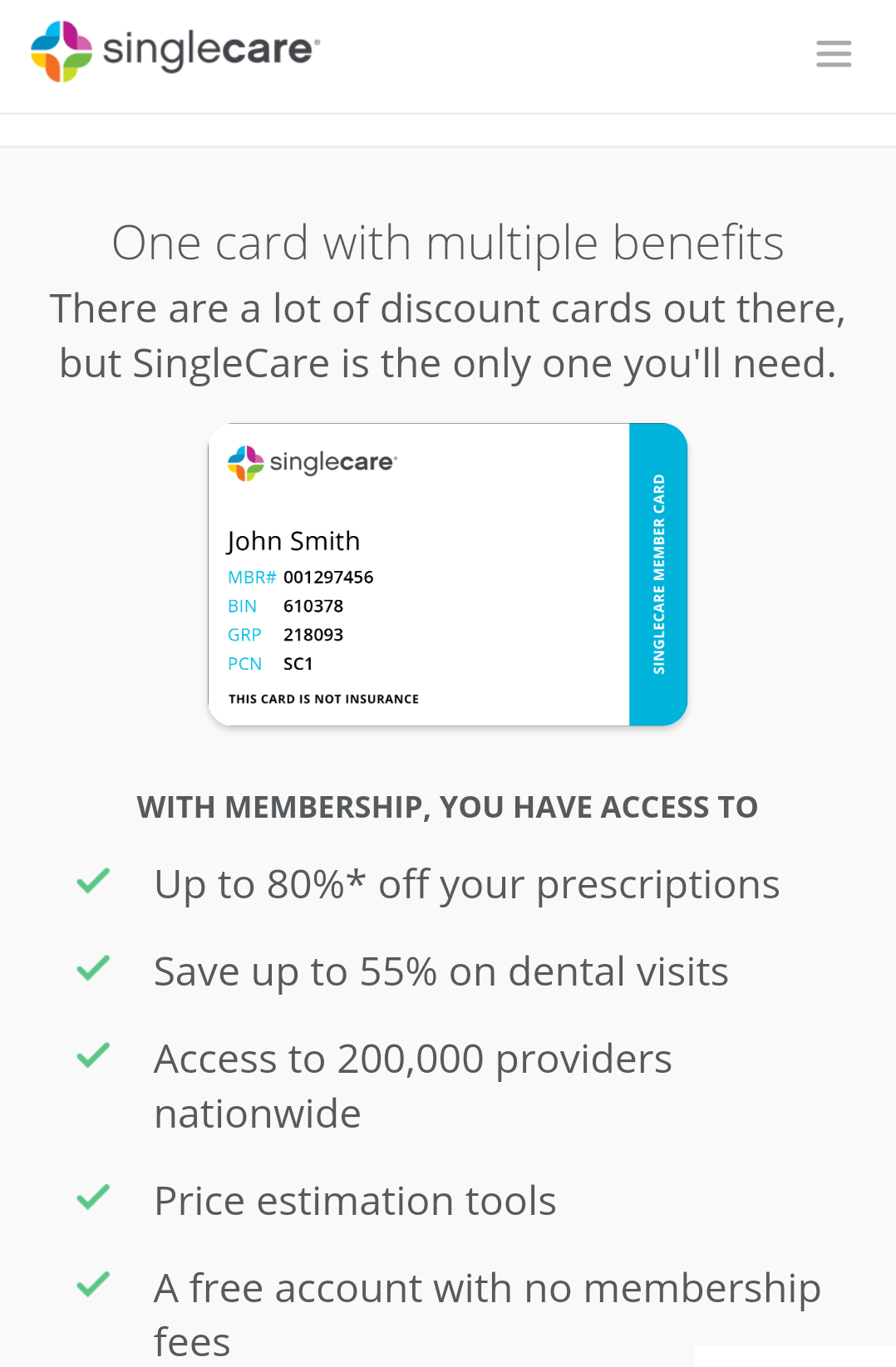80% off Prescriptions with a SingleCare Prescription Card
