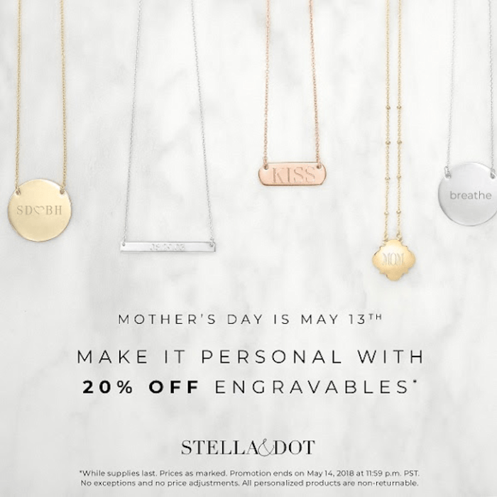 20% Off Engravables at Stella & Dot